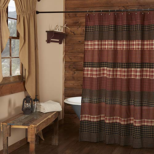 VHC Brands Beckham Shower Curtain 72x72 Country Rustic Patchwork Design, Rust Red and Tan