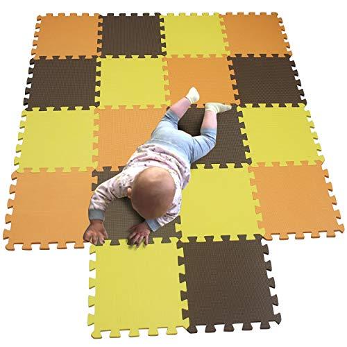 MQIAOHAM foam puzzel mat vloertegels baby speelmatten isolatie voor grote speelmat yoga sport puzzels matten kinderen foam play beschermer pads fitnessapparatuur gym Oranje Geel Koffie 102105106