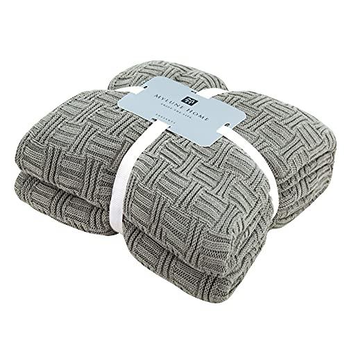 MYLUNE HOME 100% Baumwolle Decke Strickdecke Tagesdecke kuscheldecken für Die Ganze Saison, Baumwoll -Thermodecke, 70'' x 78''(180 x 200cm, Grün-Grau)