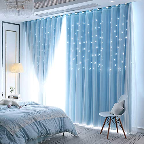 UNISTAR 2 Panels Stars Blackout Curtains for Bedroom Girls Kids Baby Window Curtain Double Layer Star Cut Out Aesthetic Living Room Decor Wall Home Decorations,W52 x L63 Inches,Blue
