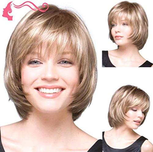 WXXWJ Blonde Courte Bob Perruque de Cheveux Ondulés Élégant Perruque de Cheveux Synthétiques Chaleur Pour Les Femmes Dame Cosplay Fête Déguisement Usage Quotidien, Acteur, Étoile, Ancre/A