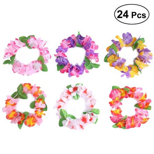 BESTOYARD Hawaiian Blumenkranz Stirnband Kopfschmuck Hawaii Luau Tropischen Kranz Kopfschmuck Party Supplies 24PCS