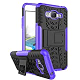 RioGree Phone Case for Samsung Galaxy J2 Prime/Grand Prime Plus/G530 Heavy Duty Cell Shockproof with Kickstand Cover Skin TPU, Purple