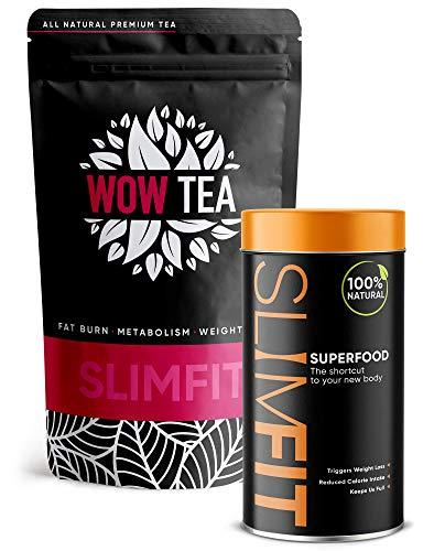 WOW TEA: Dual Box - Tee & Abnehmen pulver | Tee Fettverbrennung & Detox Tee | 9 Superfoods | Diät und Schlank Tee - 100% Bio | 300g, Made in EU