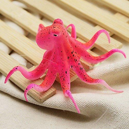 Deinbe Fluoreszierende Künstliche Krake Aquarium-Verzierung mit Saugnapf Aquarium Dekoration