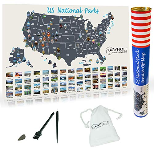 "US National Parks Scratch Off Map - Large Scratch Off National Parks Poster 24""x 17"" 60 US National Parks. Gold Foil Featuring Detailed Images. Includes Scratch Off Pen, Pick and Brush"