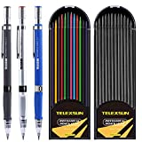 2mm Lead Holder Set - 3 Mechanical Pencils with 2 Cases Lead Refills (Color and HB Black), Clutch Pencil for Draft Drawing, Writing, Crafting, Art Sketching