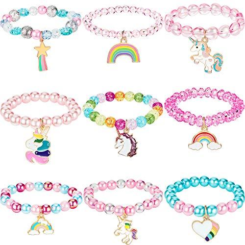 Hicarer 9 Stück Bunte Einhorn Armband Mädchen Einhorn Armbänder Regenbogen Einhorn Perlen Armband für Geburtstagsfeier Gefälligkeiten (Perlen Stil)