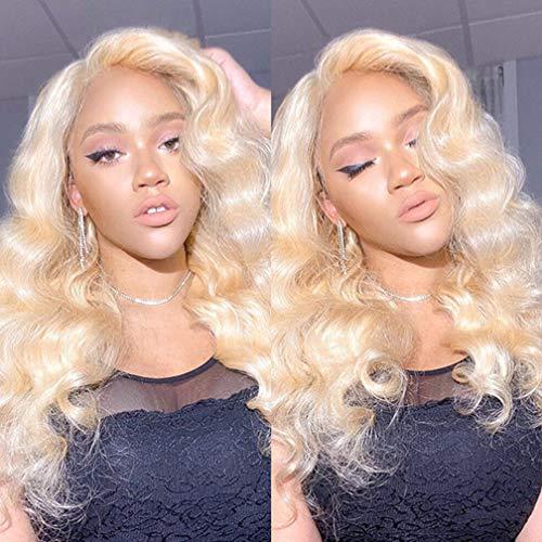 Brochan Platinum Blonde Human Hair 3 Bundles with Lace Frontal Blonde Body Wave Bundles with Frontal Brazilian Human Hair Wave Remy Weft with Frontal 613 Human Hair Weaving(14/16/18+12)