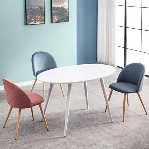 Mc Haus FIKKA - Mesa Comedor Blanca Ovalada de madera MDF diseño Escandinavo con patas color Blanco lacadas, Mesa cocina salón 129x79x75cm