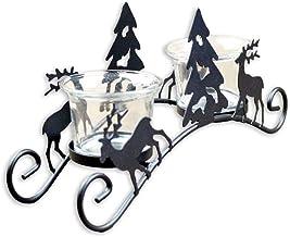 WLJBD Suportes para velas, suporte de vela para mesa de Natal, retrô, suportes de vela de ferro para árvore de Natal, cerv...