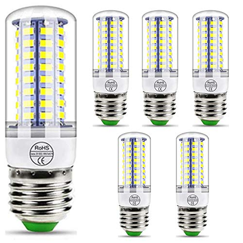 QWER E27 LED Corn Bulbs, Screw Mais Bulbs 3W/5W/7W/9W/12W/15W with 360° Beam Angle, E27 Edison Screw Light Bulbs, for Floor Lamp/Ceiling Lamp, 6Pack,E27 Cool,3W