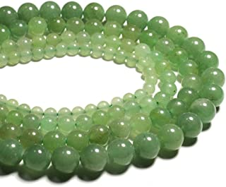 iZasky Natural Jade Stone Beads 4-12 mm - Green Aventurine Round Loose Stone Bead for Making Jewelry DIY Craft Necklace Bracelet (6mm About 63pcs)