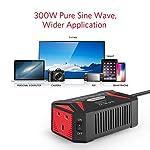 BESTEK 300W Pure Sine Wave Power Inverter DC 12V to AC 230V 240V with 4.8A Dual Smart USB Ports Car Adapter