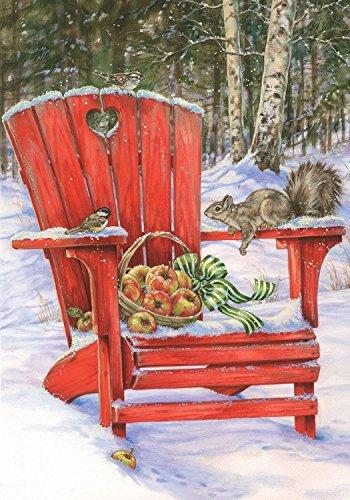 "Briarwood Lane Winter Gathering Garden Flag Adirondack Chair Apples Squirrel 12.5"" x 18"""