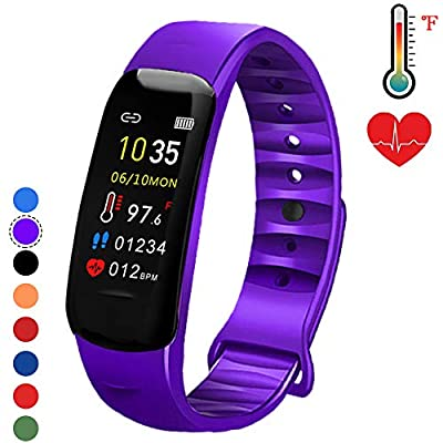 Fitness Tracker with Oxygen Monitor,Activity Tracker Watch with Body Temperature Blood Pressure Heart Rate Monitor,Smart Watch with Steps Watch, Pedometer Watch for Kids Women Men (Purple)