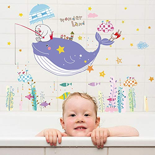 Muursticker Leuke Cartoon Stickers Kinderkamer Kleuterschool Badkamer Toilet Stickers Dolfijn Vis Muurschildering Raam Muur Stickers For Kinderen
