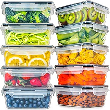 Food Storage Containers 10 pack  30 oz    BPA- Free Plastic with Lids   Leak-proof Airtight Reusable Tupperware for Meal Prep Lunches and Kitchen Organization Storage by Fullstar