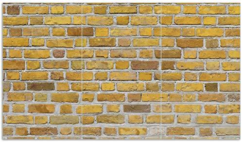 Wallario Herdabdeckplatte/Spritzschutz aus Glas, 3-teilig, 90x52cm, für Ceran- und Induktionsherde, Ziegelsteinwand in gelb - Backsteine