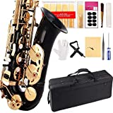 Black/Gold Keys E Flat Professional Alto Saxophone sax with 11reeds,8 Pads cushions,case,carekit-More Colors with Silver or Gold keys