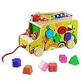 Xilófono, Clasificador de formas, Pull Along Car, Animales de madera Juguete Educativo Regalos de cumpleaños de Navidad para Niños 18 Meses