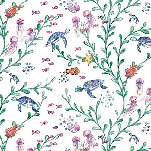 Pingianer Tela de algodón 100 % para niños, por metros, artesanía, costura (tortuga, pez, submarino, blanco, 100 x 160 cm)