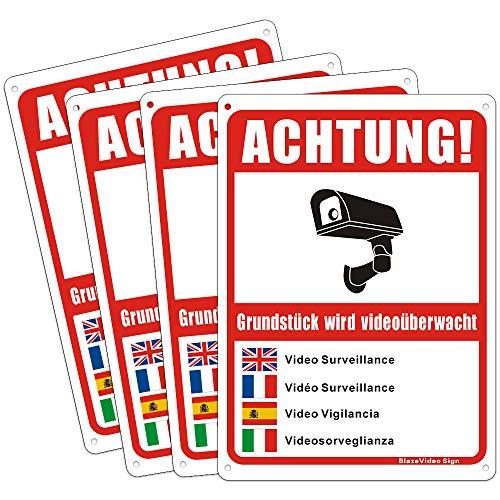Video Warnzeichen Videoüberwachungsschild Sicherheitszeichen Schild Aluminium-Achtung! Grundstück Wird 24 Stunden Videoüberwacht (Rot-Mehrsprache X 4)