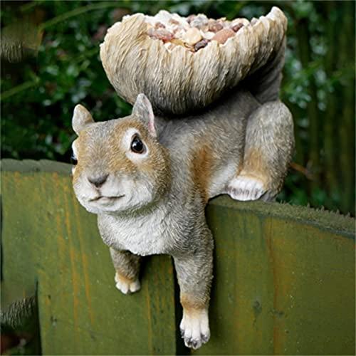 Poachers Resin Chipmunk Garden Statue Bird Feeder Decoration Squirrel Ornaments for Woodland Squirrels Other Animals Statues Sculpture Wild Seed Birdfeeder Outdoor Decorations Festival Gift