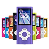 MYMAHDI - Digital, Compact and Portable MP3 / MP4 Player (Max Support 64 GB) with Photo Viewer, E-Book Reader and Voice Recorder and FM Radio Video Movie in Purple