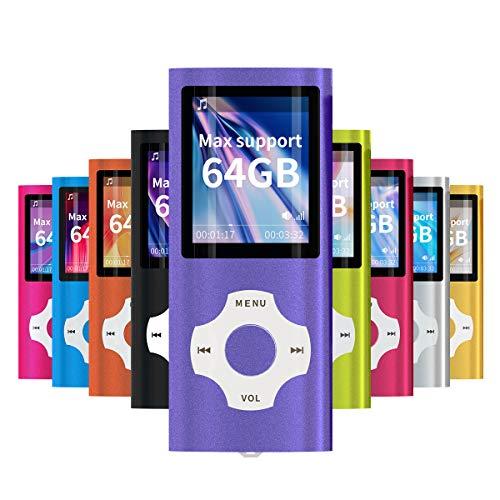 Mymahdi MP3/MP4-Player, lila mit 1,8-Zoll-LCD-Bildschirm und Memory-Karten-Slot, Support für Max 128GB