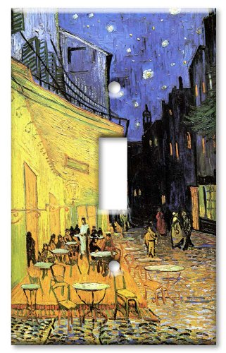 Art Plates - Single Gang Toggle Oversize Switch Plate/Over Size Wall Plate - Van Gogh: The Cafe Terrace