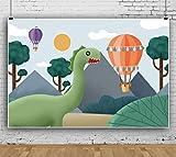 Fondo De Fotografía De Pared De Fondo De Globo De Aire Caliente De Dinosaurio De Dibujos Animados Banner De Evento De Celebración Fondo De Accesorios De Cabina De Estudio Fotográfico