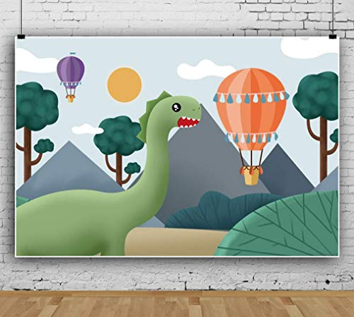Cartoon Dinosaur Hot Air Balloon Backdrops Wall Photography Background Celebration Event Banner Photo Studio Booth Props Background
