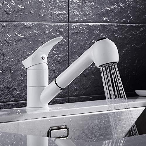 NMDCDH Grifo de Lavabo de baño Blanco, Grifo de latón Moderno, rociador abatible, Grifo de Cocina, Grifo Mezclador de Cocina fría y Caliente, para baño y Lavabo