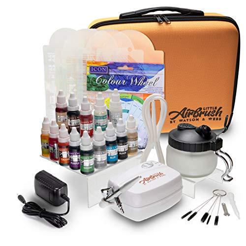 Watson & Webb - Aerografo, kit per decorazione torte | Piccolo aerografo con 14colori, stencil, contenitore per la pulizia dell'aerografo, spazzola per pulizia, ruota dei colori, ecc.