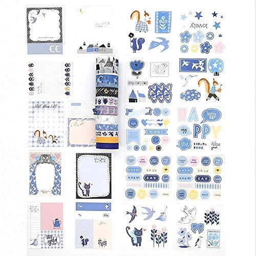 Juego de 10 rollos de cintas de enmascarar Washi y pegatinas con notas para planificadores de diarios, manualidades, manualidades, manualidades, scrapbooking adhesivo (pájaro y flor)