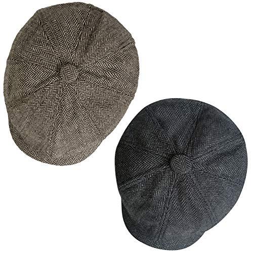 2 Pack Newsboy Hats for Men Classic 8 Panel Wool Blend Gatsby Ivy Hat Dark, Grey/Brown