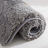 COSY HOMEER Tapis de Bain Fait en Polyester à 100%, Extra Doux et antidérapant, Spécialisé dans Les Tapis de Douche lavables en Machine et Absorbant l'eauT (Grey, 60x40 CM)
