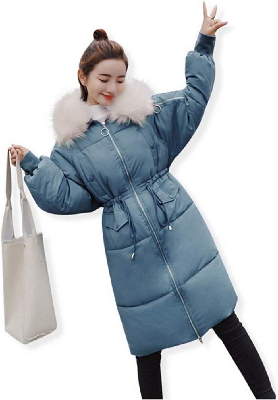 Aehoor Hooded Fur Collar Female Winter Down Jacket Adjustable Waist90% Duck Down