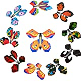 10 Pieces Magic Fairy Flying Butterfly Card Wind up Butterfly Rubber Band Flying Butterfly Surprise Flying Paper Butterflies Set for Party Playing Decorations