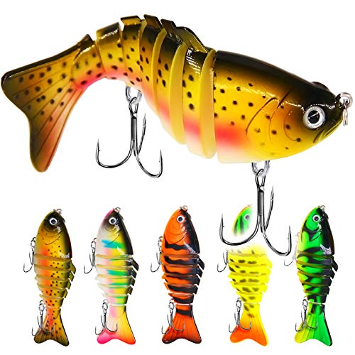 Mister Jigging , 5Pcs Bass Fishing Lures,Trout Segmented Multi Jointed Swimbaits, Slow Sinking Swimming Lures, Freshwater Saltwater Bass Fishing Lures Kit