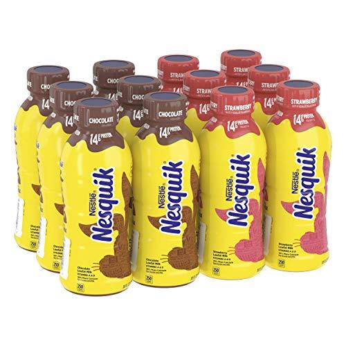 Nesquik Chocolate & Strawberry Milk, 14 Fl Oz (Pack of 12)