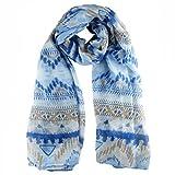 Zisla Fular bufanda estampado étnico colores, 180x85cm (Azul)