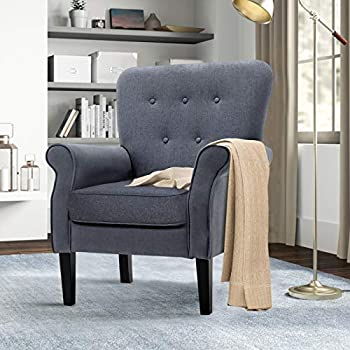 Accent Chair Mid Century Arm Chair with Button Tufted Design Modern Single Sofa Chair for Small Apartments Living Room or Bedroom Dark Gray