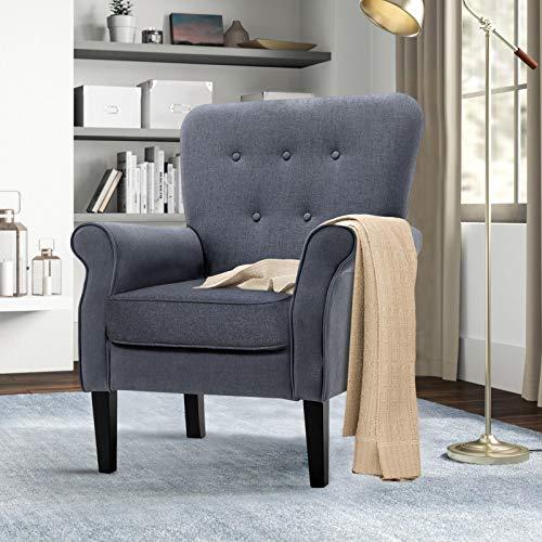 Sillas de acento, silla de brazo de mediados de siglo con diseño de botones, moderna silla de sofá individual para apartamentos pequeños, sala de estar o dormitorio, gris oscuro