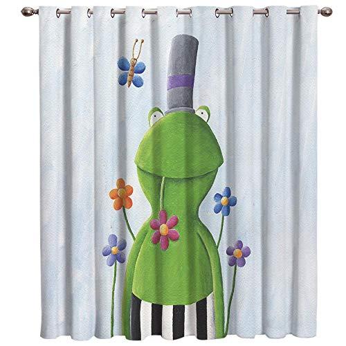 VWCDO Cartoon Kikker Bloem Vlinder Kamer Gordijnen Grote Raam Badkamer Slaapkamer Buiten Keuken Binnen Decor Swag Gordijn Panelen