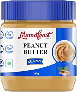 Mamafeast Peanut Butter Crunchy 340g | Made with 100% Peanuts | Protein | Non GMO | Gluten Free | Vegan