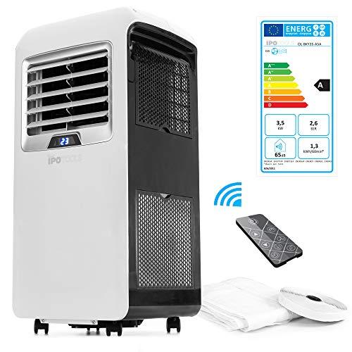 IPOTOOLS Lokales mobiles Klimagerät mit Abluftschlauch / 3in1 Mobile Klimaanlage mit Fensterabdichtung/Kühlen Ventilieren Entfeuchten / 12000 BTU/Räume 12 bis 40 qm / 24h Timer/Kühlmittel R290