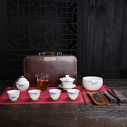 Daily Equipment Ceramics Tea set Tea art teaching training examination teacup tea set set household portable travel tea set mutton jade porcelain cover bowl teacup-Tea art teacher teaching group Sh
