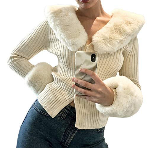 Women's Fluffy Long Sleeve V-Neck Cropped Knit Cardigan Sweater Solid Pullover Tops with Faux Fur Trim Collar Cuffs (E Apricot, One Size)